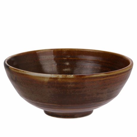 HK-living Salad bowl Kyoto rustic brown porcelain 18x18x7cm