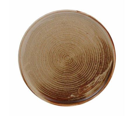 HK-living Plate Kyoto Diner rustic brown porcelain 26x26x3cm