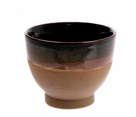 HK-living Bol Kyoto Soupe marron en céramique 11x11x8,5cm