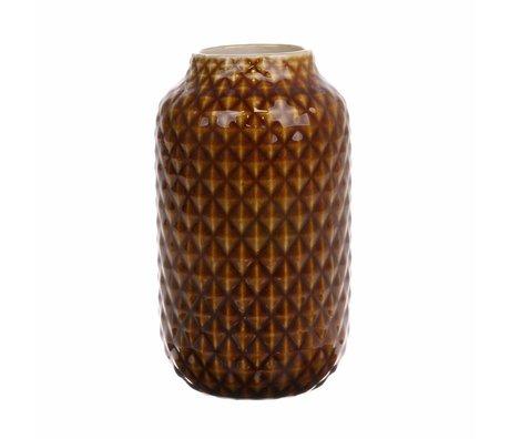 HK-living Jarrón marrón vidriada cerámica 10x10x18cm