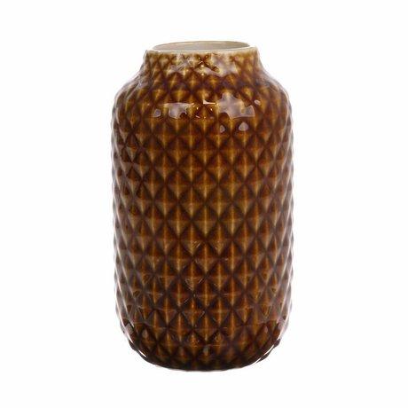 HK-living Vase marron glacé en céramique 10x10x18cm