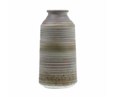 HK-living Vase naturel brun marron en céramique 12,8x12,8x25,6cm