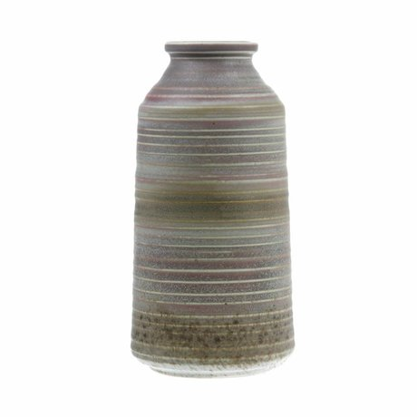 HK-living Jarrón marrón marrón natural cerámica 12,8x12,8x25,6cm