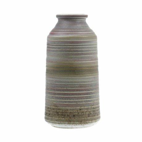 HK-living Vase naturfarben braun Keramik 12,8x12,8x25,6cm