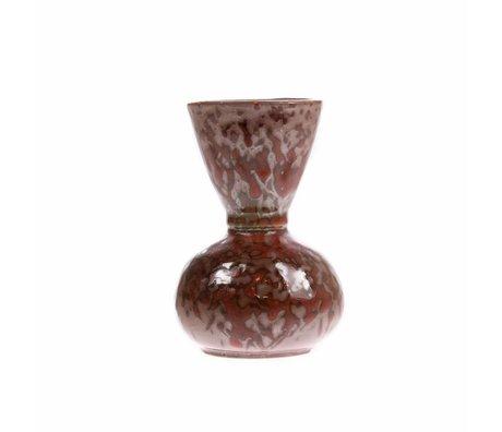 HK-living Vase céramique tacheté rouge 8,2x8,2x11,8cm
