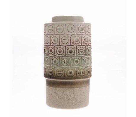 HK-living Vaso retro in ceramica multicolore 10,8x10,8x20,3cm