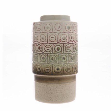 HK-living Vase rétro multicolore en céramique 10,8x10,8x20,3cm