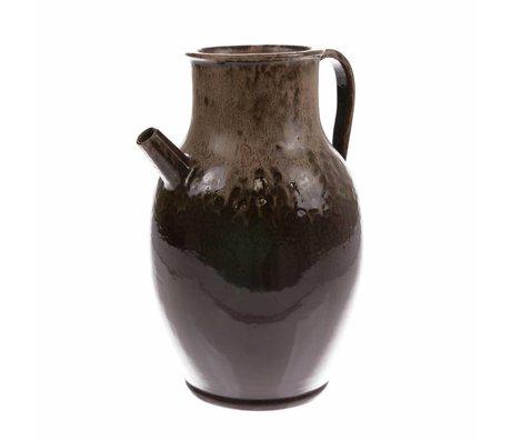 HK-living Cruche L marron en céramique 20x20x31cm