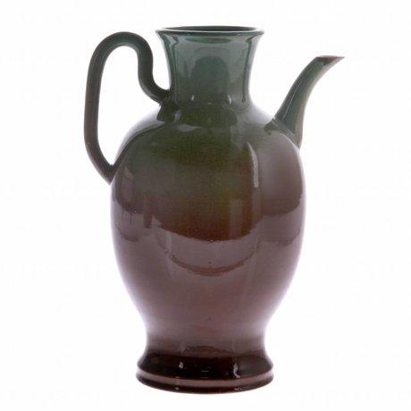 HK-living Kanne L grün braun Keramik 16,5x16,5x27cm