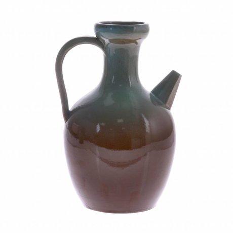 HK-living Pot M bleu brun céramique 16,5x16,5x24,5cm