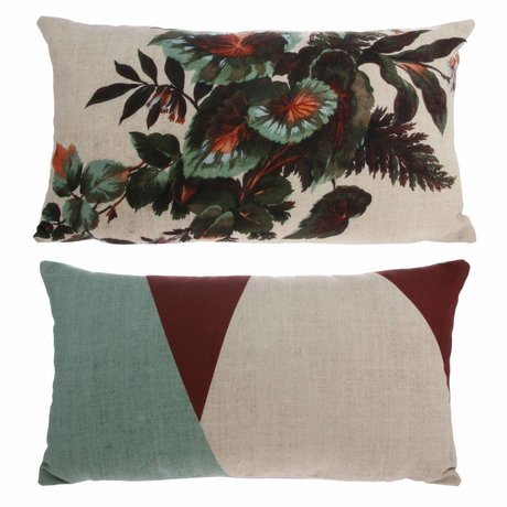 HK-living Kyoto cushion with print colorful 100% recycled PET 35x60cm