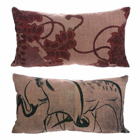 HK-living Kyoto Osaka cushion with print colorful 100% recycled PET 35x60cm
