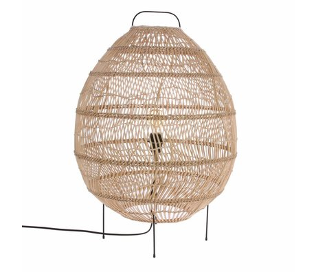 HK-living Stehlampe Oval handgeflochten beige Ried 50x50x72cm