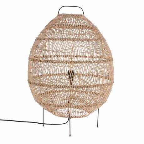 HK-living Floor lamp Oval handwoven beige Ried 50x50x72cm
