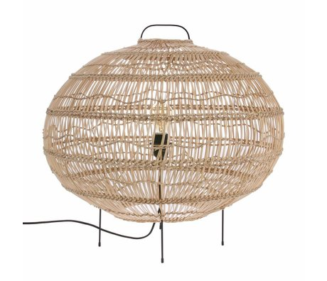 HK-living Lámpara de pie Ovaal tejida a mano beige Ried 60x60x56cm