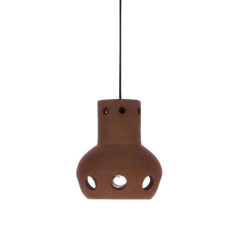 HK-living Hanging lamp number 2 terracotta colored 13x13x15cm