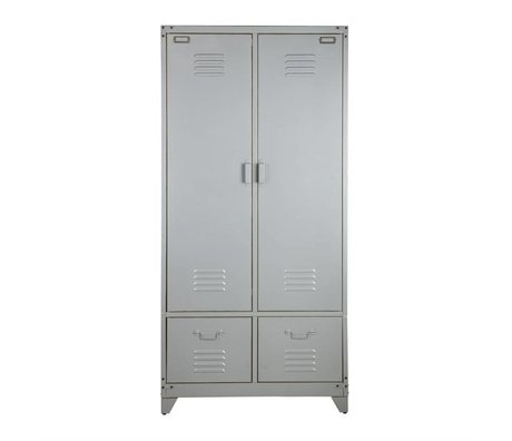 vtwonen Armario de metal plateado 190x90x50cm