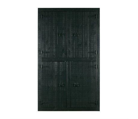 vtwonen Cabinet superposés pin noir 4 portes 120x37x200cm