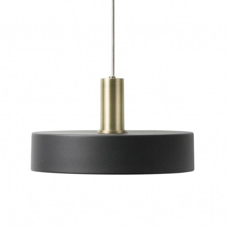 Ferm Living Hanging lamp Record Low black brass colored gold metal