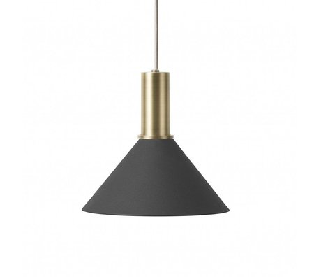 Ferm Living Hanging lamp Cone Low black brass colored gold metal