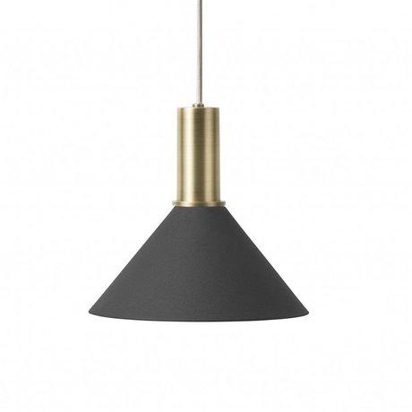 Ferm Living Pendelleuchte Cone Low schwarz messingfarben goldfarben Metall