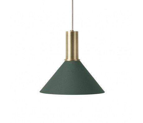 Ferm Living Hängelampe Cone Low dunkelgrün messingfarben goldfarben Metall