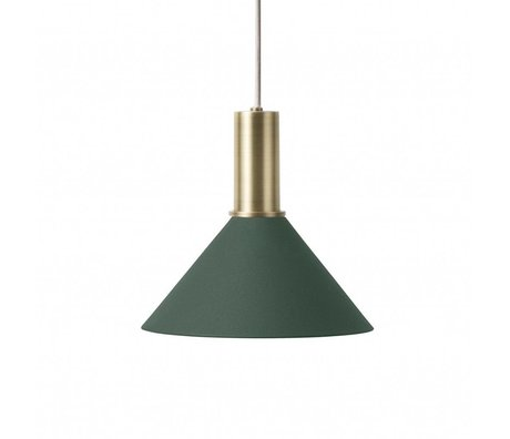 Ferm Living Hanging lamp Cone Low dark green brass colored golden metal
