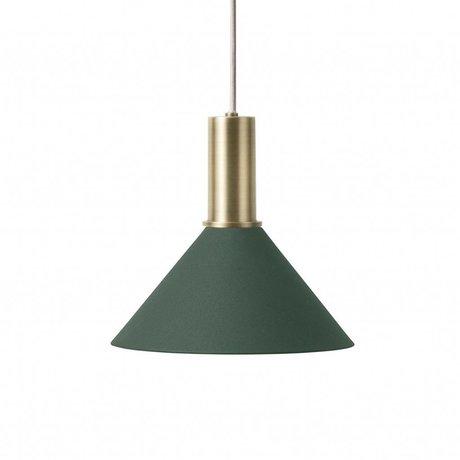 Ferm Living Hanging lamp Cone Low dark green brass colored golden metal