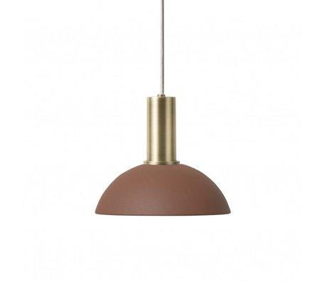 Ferm Living Lampada a sospensione Hoop in metallo color ottone dorato rosso bruno rosso
