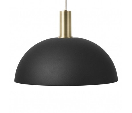 Ferm Living Lampada a sospensione Cupola Basso nero in ottone color oro metallizzato