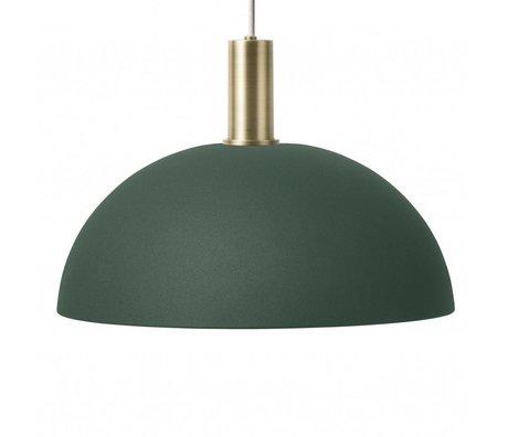 Ferm Living Hängelampe Dome Low dunkelgrün messingfarben goldfarben Metall