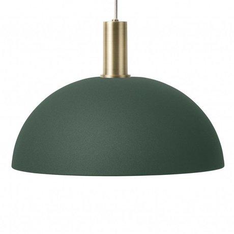 Ferm Living Hanging Lamp Dome Lav mørkegrøn messing farvet guldmetal