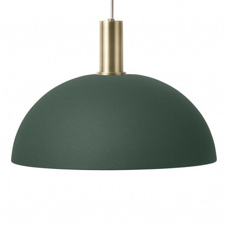 Ferm Living Hanging Lamp Dome Low dark green brass colored gold metal
