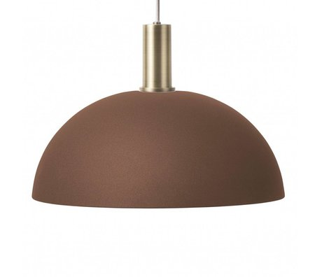 Ferm Living Hanging lamp dome low red brown brass gold color metal