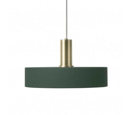 Ferm Living Hængelampe Optag Lavt mørkegrøn messingfarvet guldmetal