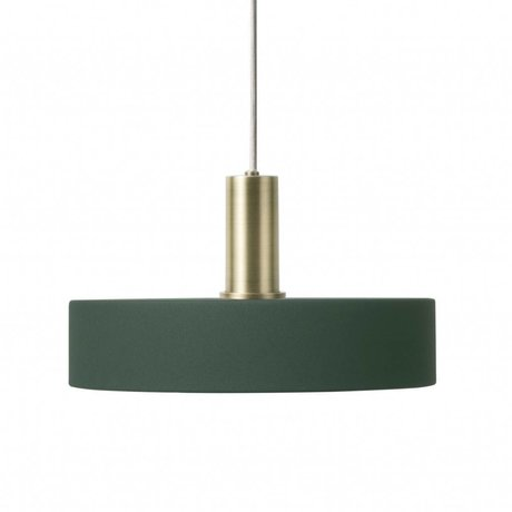 Ferm Living Hanging lamp Record Low dark green brass colored gold metal