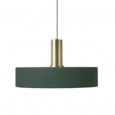 Ferm Living Lampe suspendue Record Low vert foncé en laiton couleur or métal