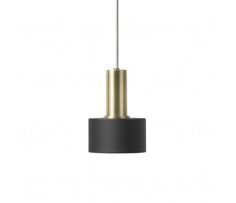 Ferm Living Hanging lamp Disc Low black brass colored gold metal
