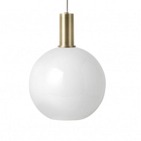Ferm Living Pendelleuchte Opal Sphere Low weiß Glas messingfarben goldfarben Metall