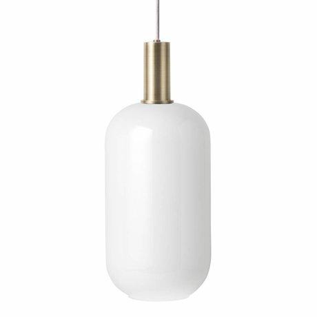 Ferm Living Lámpara colgante Opal Tall Vidrio blanco bajo color latón metal dorado