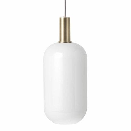 Ferm Living Lampe à suspension Opal Tall Basse verre blanc laiton couleur or métal