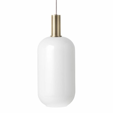 Ferm Living Pendelleuchte  Opal Tall Low weiß Glas messingfarben goldfarben Metall