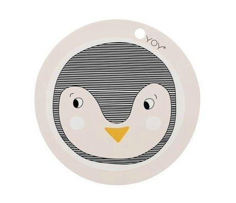OYOY Dækkeserviet Penguin Pink Silicone 39x0,15cm