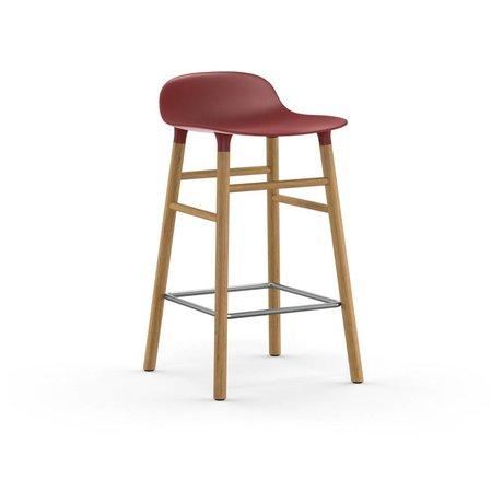 Normann Copenhagen Bar chair shape red brown plastic oak 43x42,5x77cm
