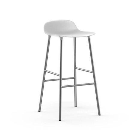 Normann Copenhagen Tabouret forme plastique blanc chrome 53x45x87cm