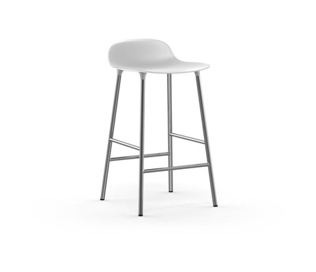 Normann Copenhagen Bar chair shape white plastic chrome 43x42,5x77cm