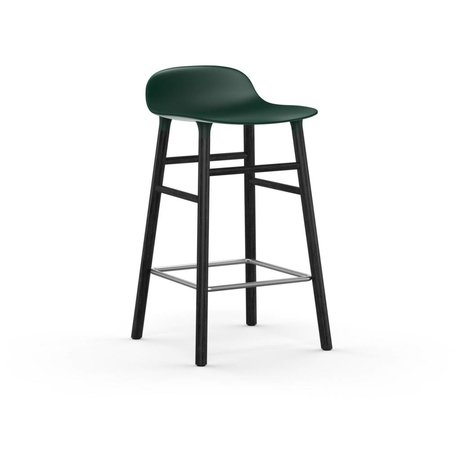 Normann Copenhagen forma Barstool verde de plástico negro madera 43x42,5x77cm