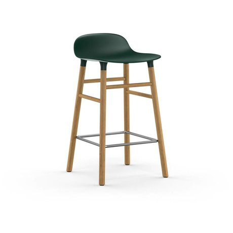 Normann Copenhagen Bar chair shape green brown plastic oak 43x42,5x77cm
