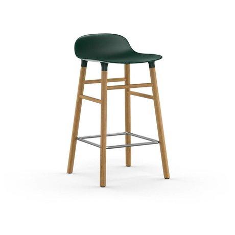 Normann Copenhagen Tabouret forme vert brun plastique chêne 43x42,5x77cm
