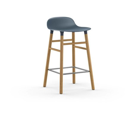 Normann Copenhagen Bar chair shape blue brown plastic oak 43x42,5x77cm